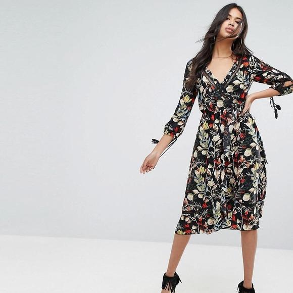 d5bafcd76ba7 Boohoo Dresses | Asos Black Floral V Neck Ruffle Wrap Dress | Poshmark